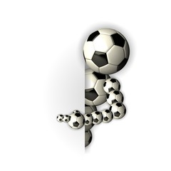 soccer mascot, with finger on board