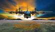 canvas print picture - military plane landing on airforce runways against beautiful dus