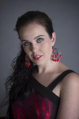 sexy modern italian woman in red top