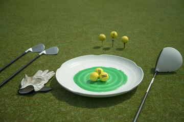 servis tabağında golf topları