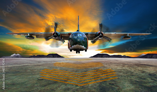 canvas print picture military plane landing on airforce runways against beautiful dus