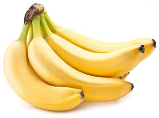Banana fruits on over white.