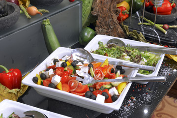 Greek salad on a buffet table
