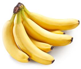 Banana fruits over white.