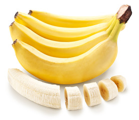Banana fruit with banana pieces on a white background.