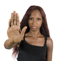 African woman showing hand to say NO!