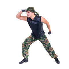 Soldiers in camouflage uniforms, isolated on white background