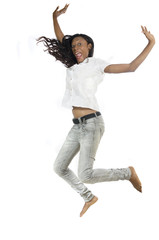 Beautiful African Woman Jumping