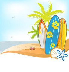summer background with surboard