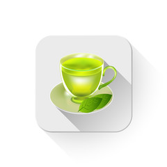 Tea cup illustration With long shadow over app button