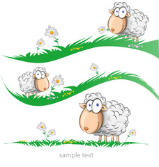 sheep cartoon set on meadow