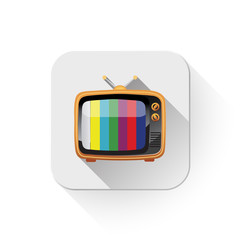 retro tv icon With long shadow over app button