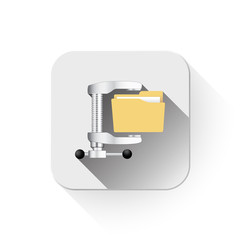illustration of computer zip folder icon With long shadow over a