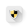 shield security icon With long shadow over app button