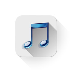 music note icon With long shadow over app button