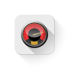speedometer icon With long shadow over app button