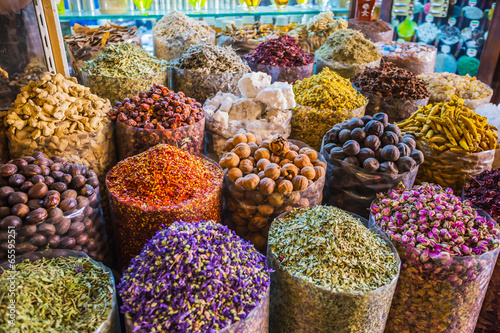 Poster dried herbs flowers spices in the spice souq at Deira