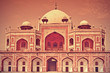 old rendered image of Tomb of Humayun at New Delhi, India