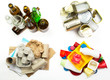 Segregated garbage - ready to recycle. Glass, metal, paper and p