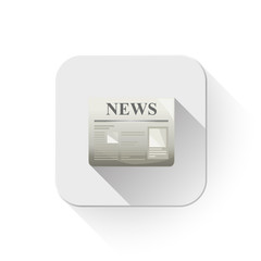 newspaper icon With long shadow over app button
