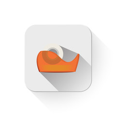 adhesive tape icon With long shadow over app button