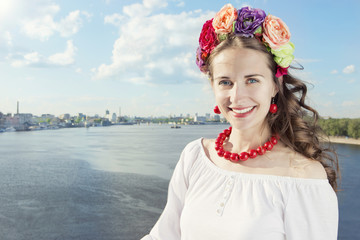 Ukrainian on the Dnieper in Kiev in a wreath of flowers