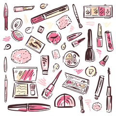 Cosmetics.  Makeup set.