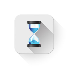 Hourglass sand clock icon With long shadow over app button