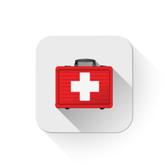 first aid case icon With long shadow over app button