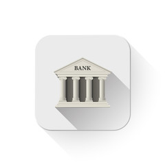 white bank building icon With long shadow over app button
