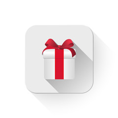 gift box With long shadow over app button