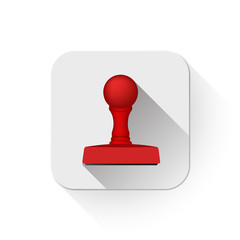 rubber stamp icon With long shadow over app button