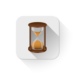 sand timer icon With long shadow over app button