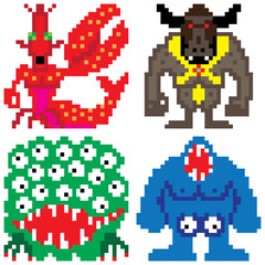 worse terror horror monster eight bit pixel art