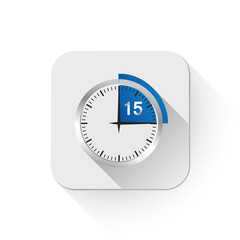 Clock 15 Minutes To Go With long shadow over app button