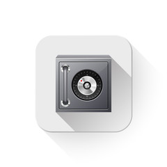 safe or safety deposit box With long shadow over app button