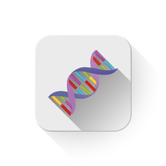 dna strands icon With long shadow over app button