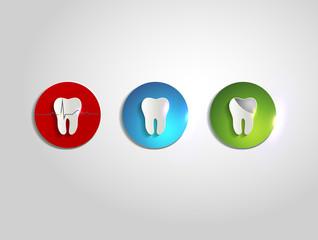 Colorful teeth care symbols, beautiful bright colors, paper desi