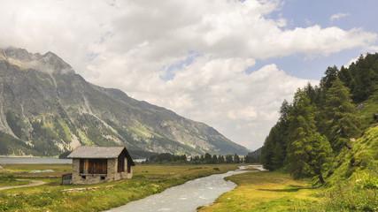 Maloja, Dorf, Silsersee, Uferweg, Alpen, Sommer, Schweiz