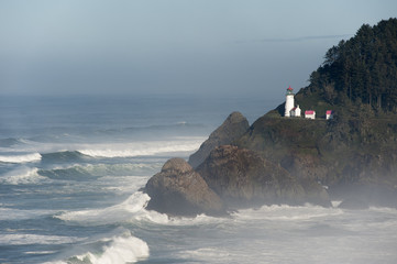 Heceta Head historic lighthouse on the Pacific coastline.