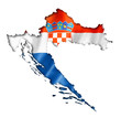 Leinwanddruck Bild - Croatian flag map
