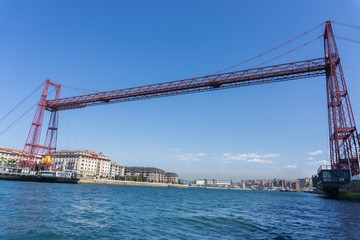 Wide angle view of the Bizkaia suspension bridge
