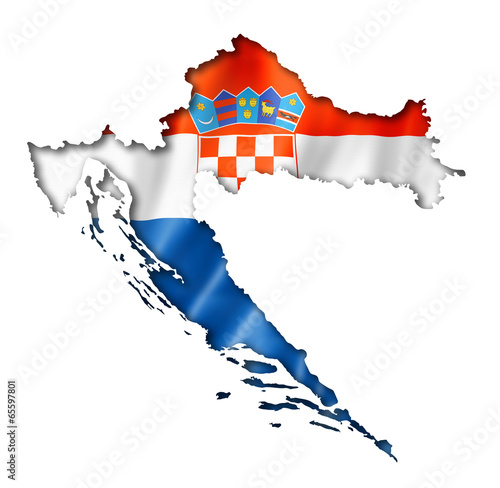 Leinwanddruck Bild Croatian flag map