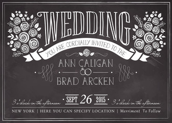 Vintage Wedding invitation card with floral background