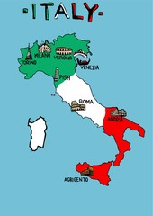 Italy map with monuments