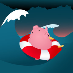 Financial problems. Piggy bank drowning in the storm sea