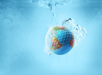 world golf ball in water