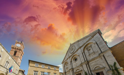Sunset over Pienza, old medieval square