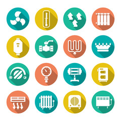 Set flat icons of heating