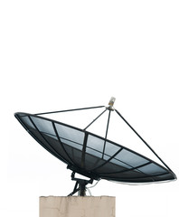 Black satellite on white background
